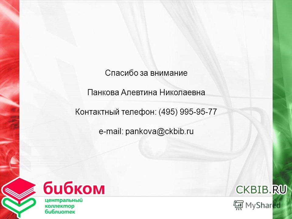 20% Спасибо за внимание Панкова Алевтина Николаевна Контактный телефон: (495) 995-95-77 e-mail: pankova@ckbib.ru