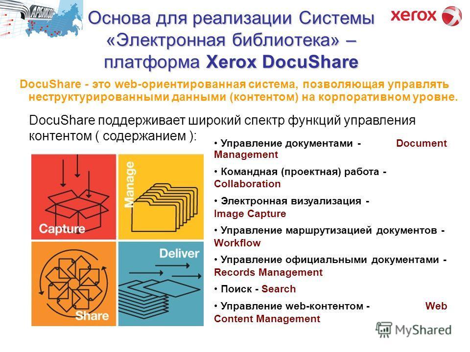 Основа для реализации Системы «Электронная библиотека» – платформа Xerox DocuShare DocuShare поддерживает широкий спектр функций управления контентом ( содержанием ): Управление документами - Document Management Командная (проектная) работа - Collabo