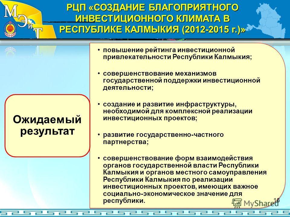 повышение рейтинга инвестиционной привлекательности Республики Калмыкия; совершенствование механизмов государственной поддержки инвестиционной деятельности; создание и развитие инфраструктуры, необходимой для комплексной реализации инвестиционных про