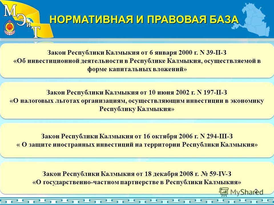 Закон Республики Калмыкия от 6 января 2000 г. N 39-II-З «Об инвестиционной деятельности в Республике Калмыкия, осуществляемой в форме капитальных вложений» Закон Республики Калмыкия от 6 января 2000 г. N 39-II-З «Об инвестиционной деятельности в Респ
