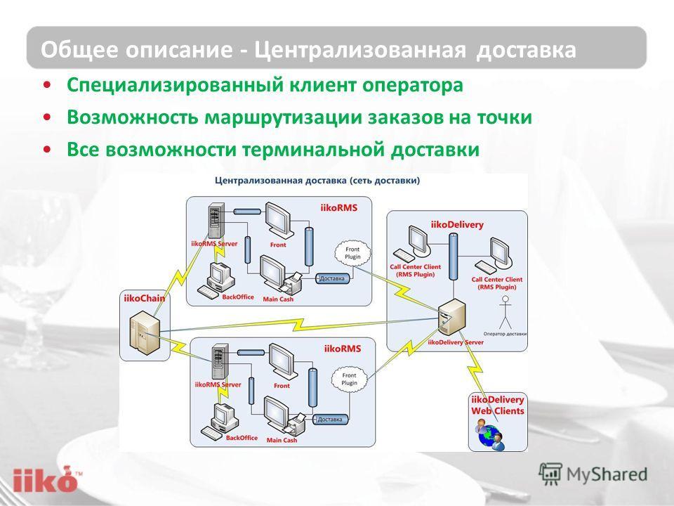 Общее описание - Централизованная доставка Специализированный клиент оператора Возможность маршрутизации заказов на точки Все возможности терминальной доставки