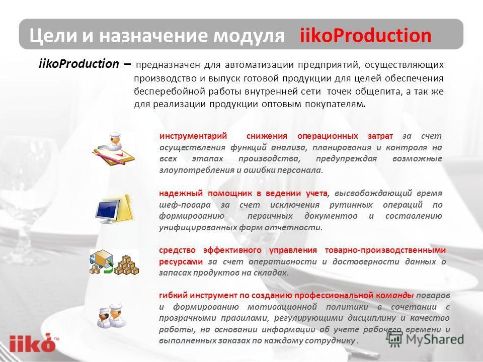 Цели и назначение модуля iikoProduction iikoProduction – предназначен для автоматизации предприятий, осуществляющих производство и выпуск готовой продукции для целей обеспечения бесперебойной работы внутренней сети точек общепита, а так же для реализ