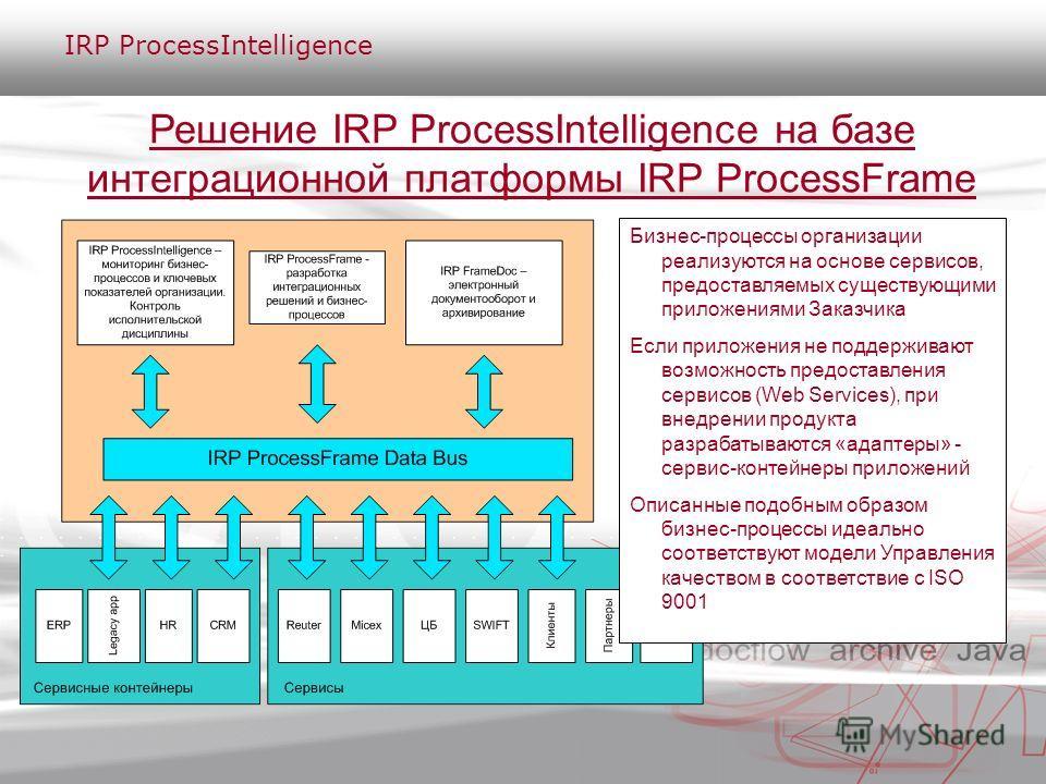 Решение IRP ProcessIntelligence на базе интеграционной платформы IRP ProcessFrame Бизнес-процессы организации реализуются на основе сервисов, предоставляемых существующими приложениями Заказчика Если приложения не поддерживают возможность предоставле