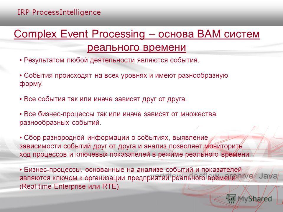 Complex Event Processing – основа BAM систем реального времени Результатом любой деятельности являются события. События происходят на всех уровнях и имеют разнообразную форму. Все события так или иначе зависят друг от друга. Все бизнес-процессы так и