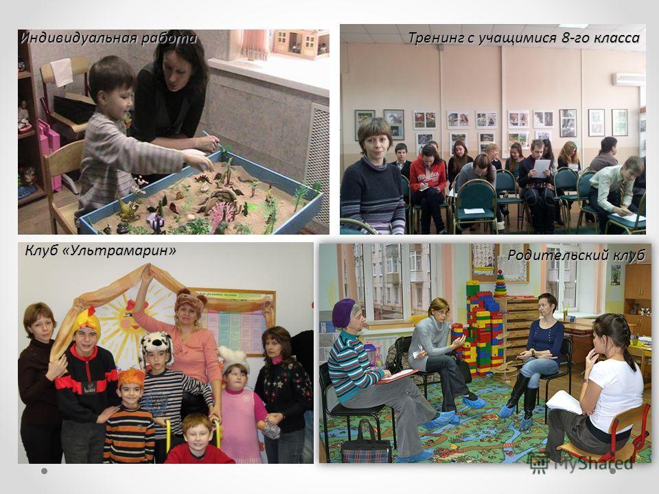 Клуб «Ультрамарин» Тренинг с учащимися 8-го класса Индивидуальная работа Родительский клуб