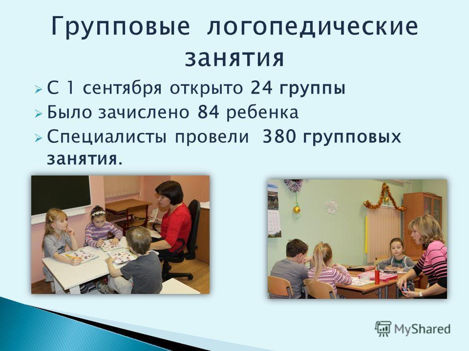 С 1 сентября открыто 24 группы Было зачислено 84 ребенка Специалисты провели 380 групповых занятия.