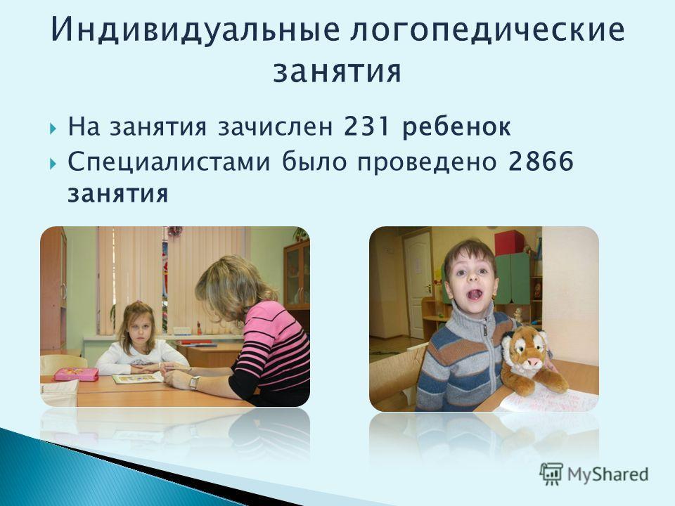 На занятия зачислен 231 ребенок Специалистами было проведено 2866 занятия