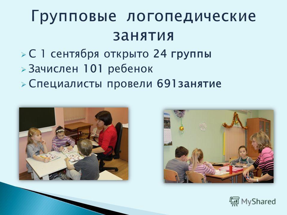 С 1 сентября открыто 24 группы Зачислен 101 ребенок Специалисты провели 691занятие