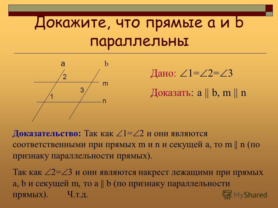 Докажите, что прямые а и b параллельны a m 2 1 b n 3 Дано: 1= 2= 3 Доказать: а || b, m || n Доказательство: Так как 1= 2 и они являются соответственными при прямых m и n и секущей а, то m || n (по признаку параллельности прямых). Так как 2= 3 и они я