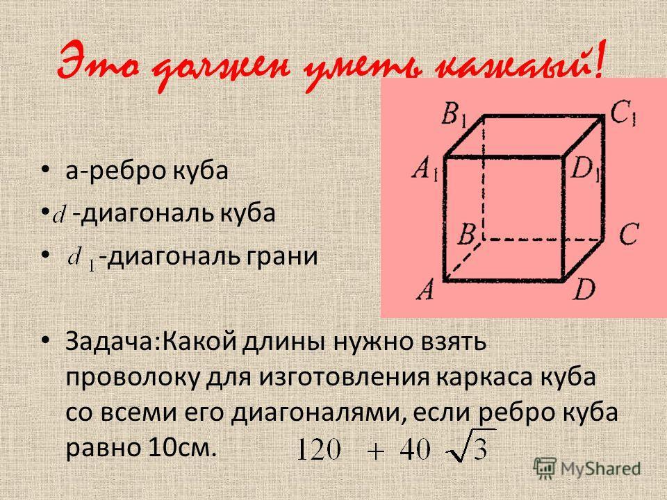 Это должен уметь каждый! а-ребро куба -диагональ куба -диагональ грани Задача:Какой длины нужно взять проволоку для изготовления каркаса куба со всеми его диагоналями, если ребро куба равно 10см.