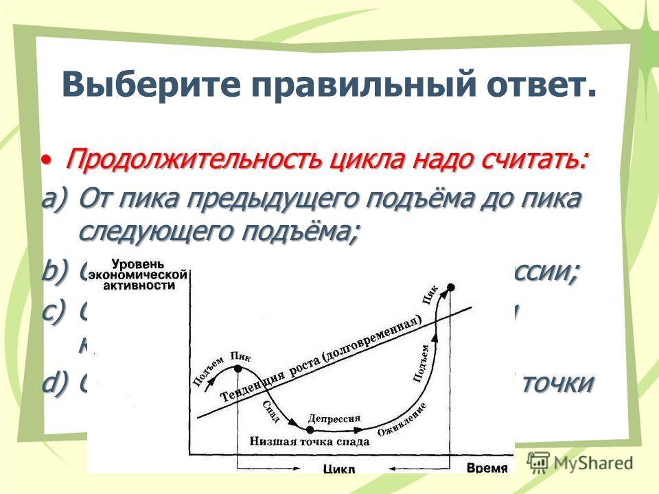 Выберите правильный ответ. Продолжительность цикла надо считать:Продолжительность цикла надо считать: a)От пика предыдущего подъёма до пика следующего подъёма; b)От начала подъёма до конца рецессии; c)От пика подъёма до низшей точки кризиса – дна; d)