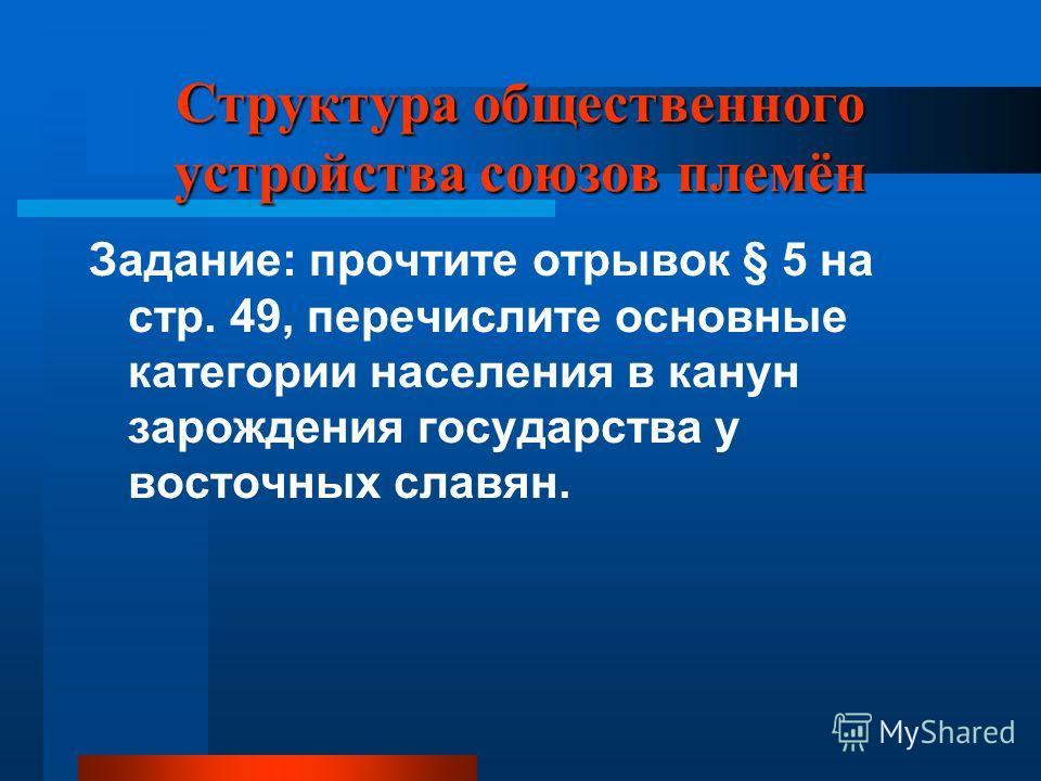 Структура общественного устройства союзов племён Задание: прочтите отрывок § 5 на стр. 49, перечислите основные категории населения в канун зарождения государства у восточных славян.