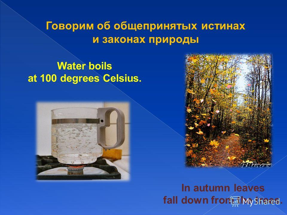 Говорим об общепринятых истинах и законах природы In autumn leaves fall down from the trees. Water boils at 100 degrees Celsius.