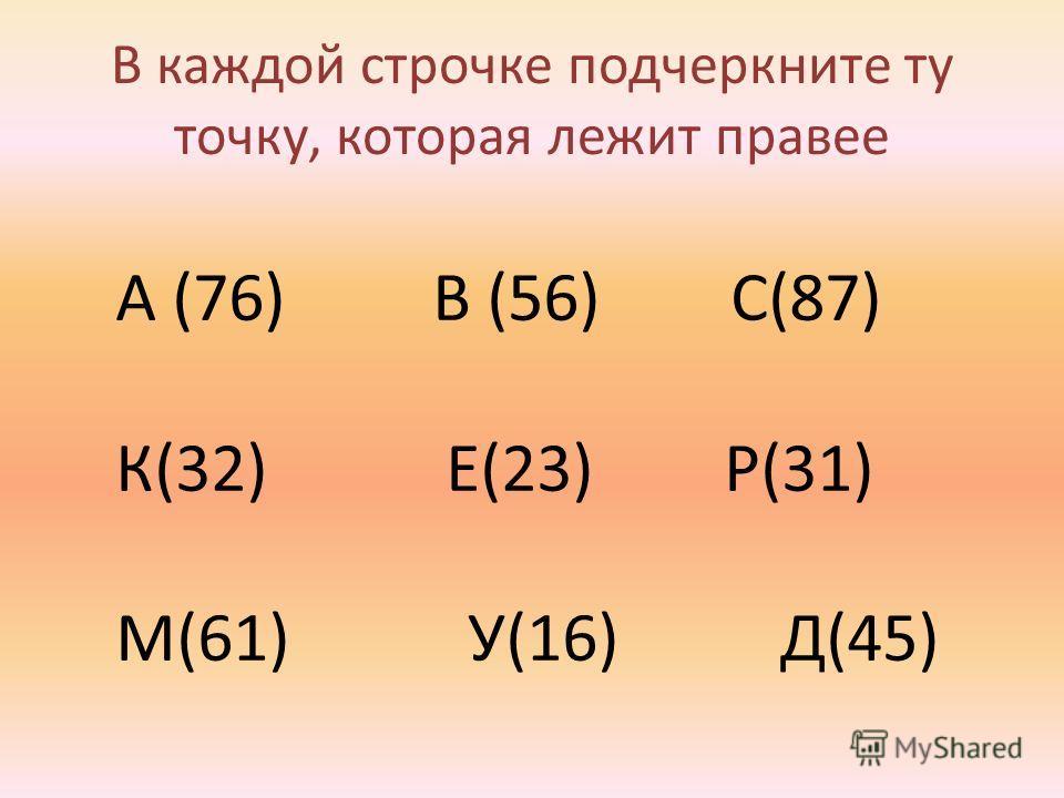 В каждой строчке подчеркните ту точку, которая лежит правее А (76) В (56) С(87) К(32) Е(23) Р(31) М(61) У(16) Д(45)