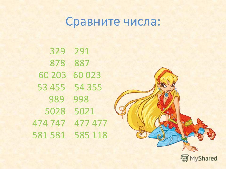 Сравните числа: 329 291 878 887 60 203 60 023 53 455 54 355 989 998 5028 5021 474 747 477 477 581 581 585 118