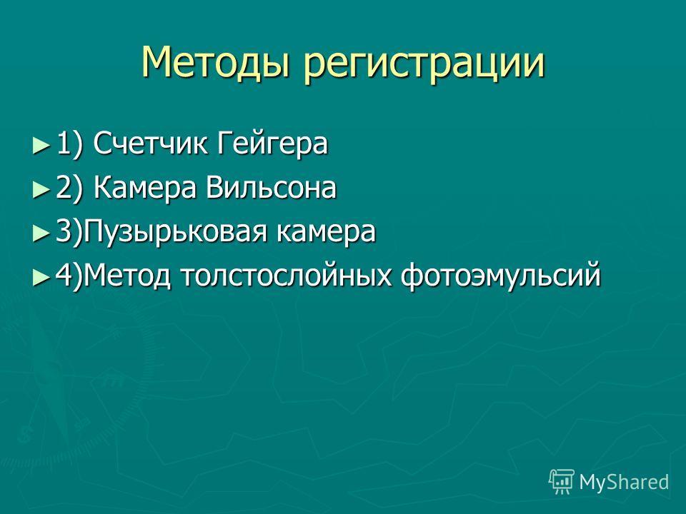 Методы регистрации 1) Счетчик