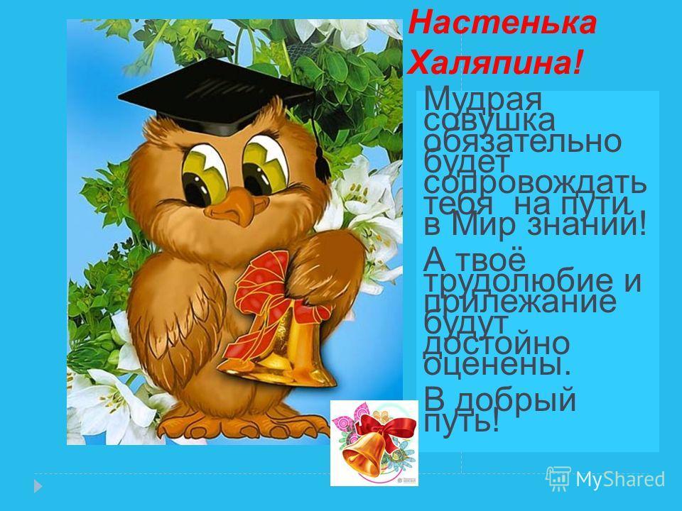 Настенька Халяпина! Мудрая совушка обязательно будет сопровождать тебя на пути в Мир знаний! А твоё трудолюбие и прилежание будут достойно оценены. В добрый путь!
