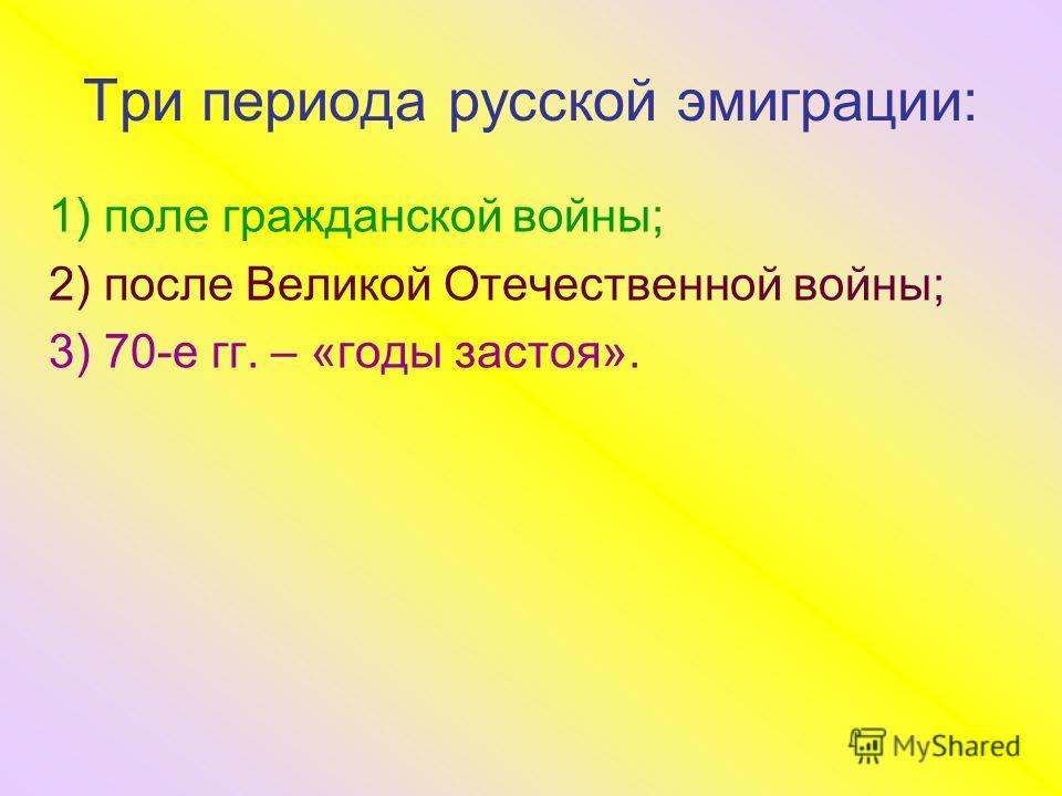 Три периода русской эмиграции: 1) поле гражданской войны; 2) после Великой Отечественной войны; 3) 70-е гг. – «годы застоя».