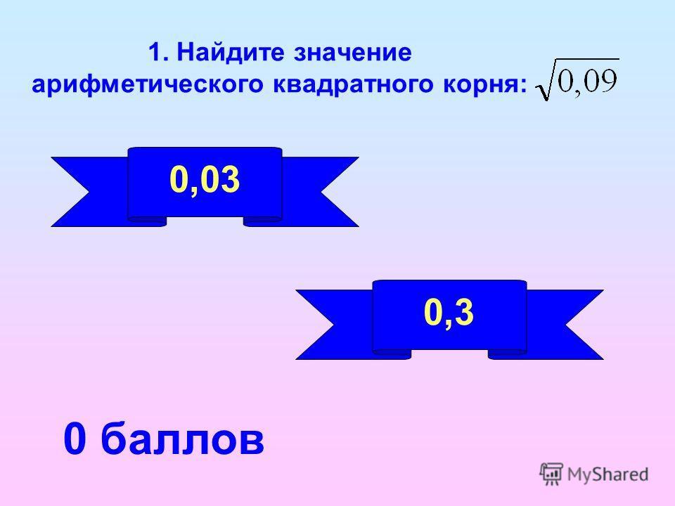 1. Найдите значение арифметического квадратного корня: 0,03 0,3 0 баллов