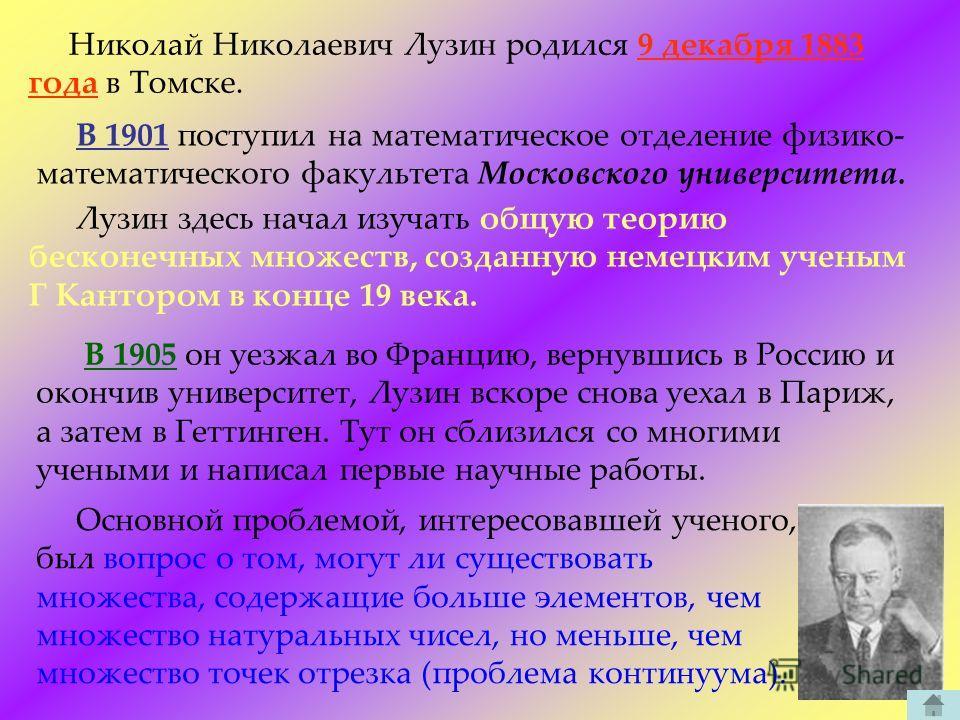 Николай Николаевич Лузин родился 9 декабря 1883 года в Томске. В 1901 поступил на математическое отделение физико- математического факультета Московского университета. Лузин здесь начал изучать общую теорию бесконечных множеств, созданную немецким уч