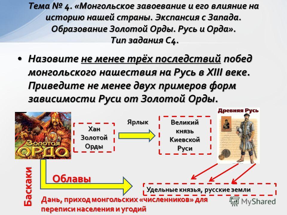 Назовите не менее трёх последствий побед монгольского нашествия на Русь в XIII веке. Приведите не менее двух примеров форм зависимости Руси от Золотой Орды.Назовите не менее трёх последствий побед монгольского нашествия на Русь в XIII веке. Приведите