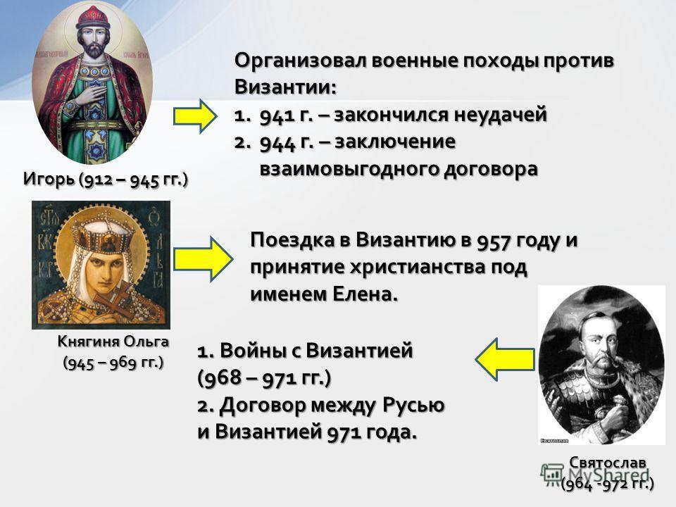 Игорь (912 – 945 гг.) Организовал военные походы против Византии: 1.941 г. – закончился неудачей 2.944 г. – заключение взаимовыгодного договора Княгиня Ольга (945 – 969 гг.) Поездка в Византию в 957 году и принятие христианства под именем Елена. Свят