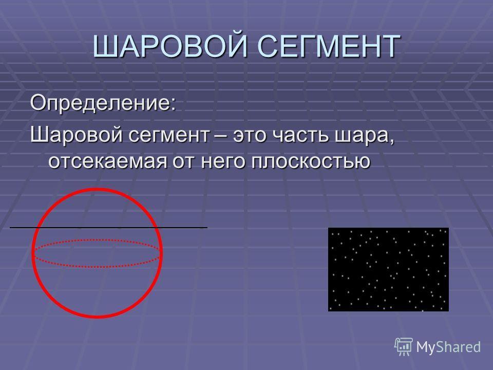 ШАРОВОЙ СЕГМЕНТ Определение: Шаровой сегмент – это часть шара, отсекаемая от него плоскостью