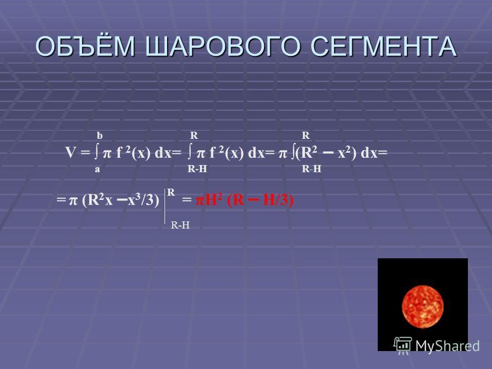 ОБЪЁМ ШАРОВОГО СЕГМЕНТА b R R V = π f 2 (x) dx= π f 2 (x) dx= π (R 2 – х 2 ) dx= a R-Н R-Н = π (R 2 х – x 3 /3) R = πH 2 (R – H/3) R-Н