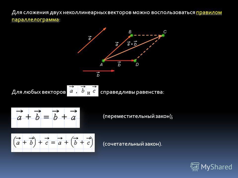 правилом параллелограмма Для сложения двух неколлинеарных векторов можно воспользоваться правилом параллелограмма: Для любых векторов справедливы равенства: (переместительный закон); (сочетательный закон).
