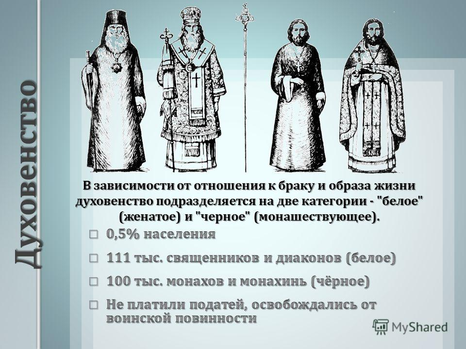 Духовенство В зависимости от отношения к браку и образа жизни духовенство подразделяется на две категории -  белое  ( женатое ) и  черное  ( монашествующее ).