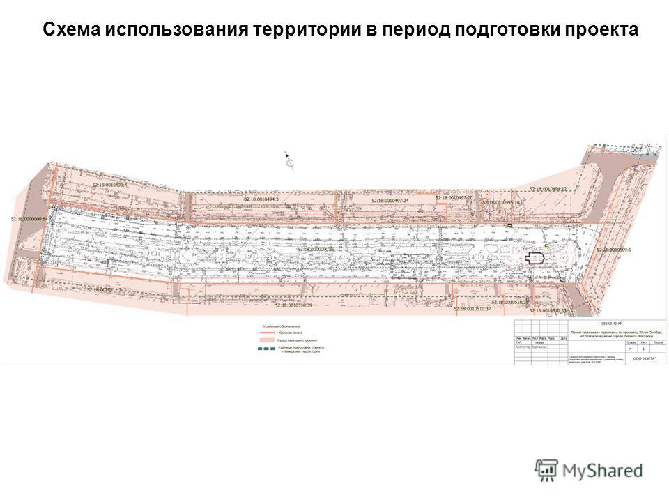 Схема использования территории в период подготовки проекта