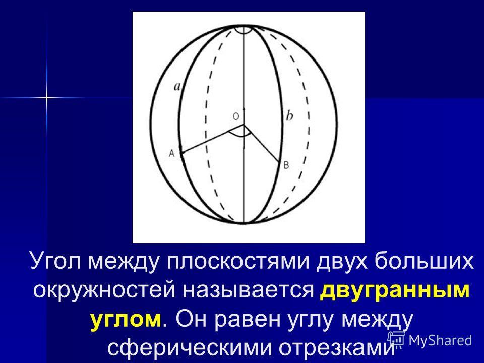 Угол между плоскостями двух больших окружностей называется двугранным углом. Он равен углу между сферическими отрезками