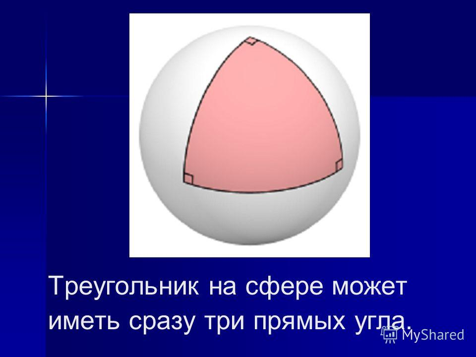 Треугольник на сфере может иметь сразу три прямых угла.