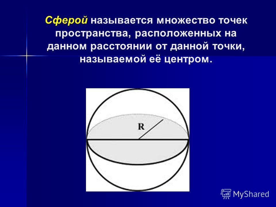 Сферой называется множество точек пространства, расположенных на данном расстоянии от данной точки, называемой её центром.
