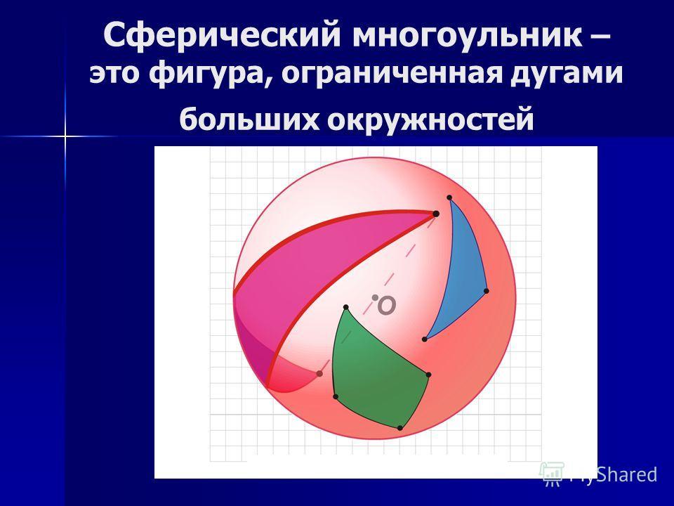 Сферический многоульник – это фигура, ограниченная дугами больших окружностей