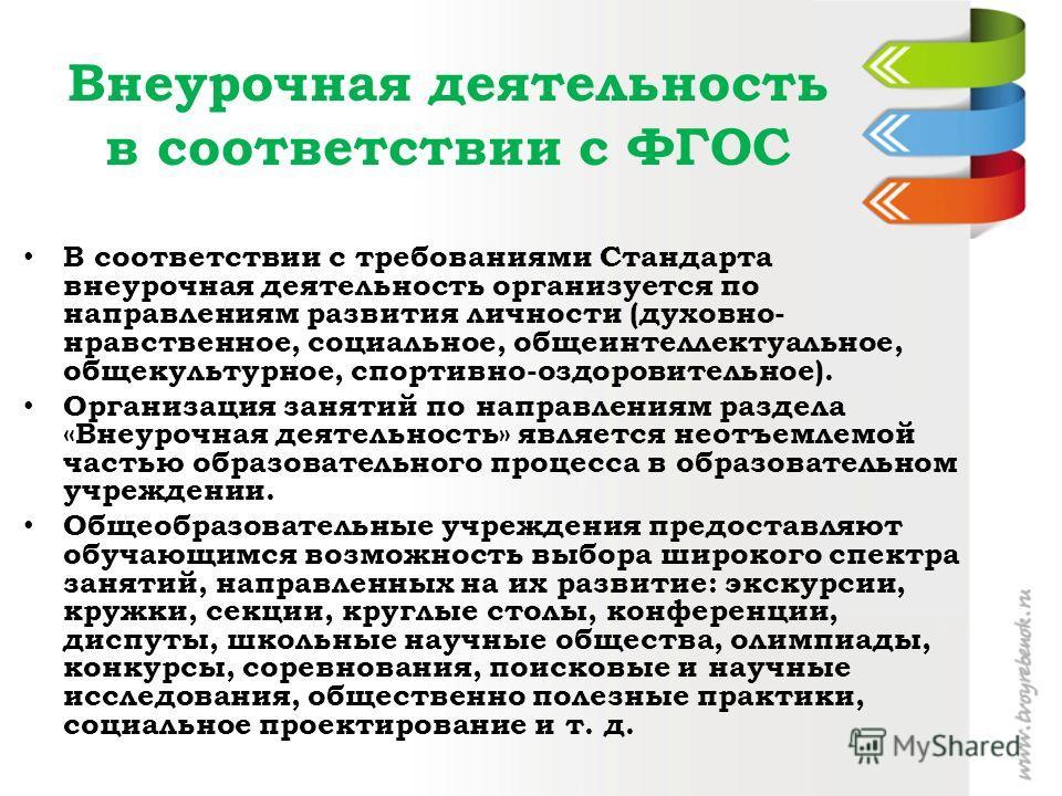 Внеурочная деятельность в соответствии с ФГОС В соответствии с требованиями Стандарта внеурочная деятельность организуется по направлениям развития личности (духовно- нравственное, социальное, общеинтеллектуальное, общекультурное, спортивно-оздоровит