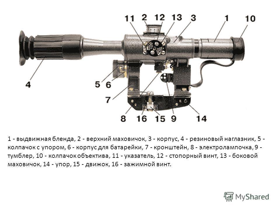 1 - выдвижная бленда, 2 - верхний маховичок, 3 - корпус, 4 - резиновый наглазник, 5 - колпачок с упором, 6 - корпус для батарейки, 7 - кронштейн, 8 - электролампочка, 9 - тумблер, 10 - колпачок объектива, 11 - указатель, 12 - стопорный винт, 13 - бок