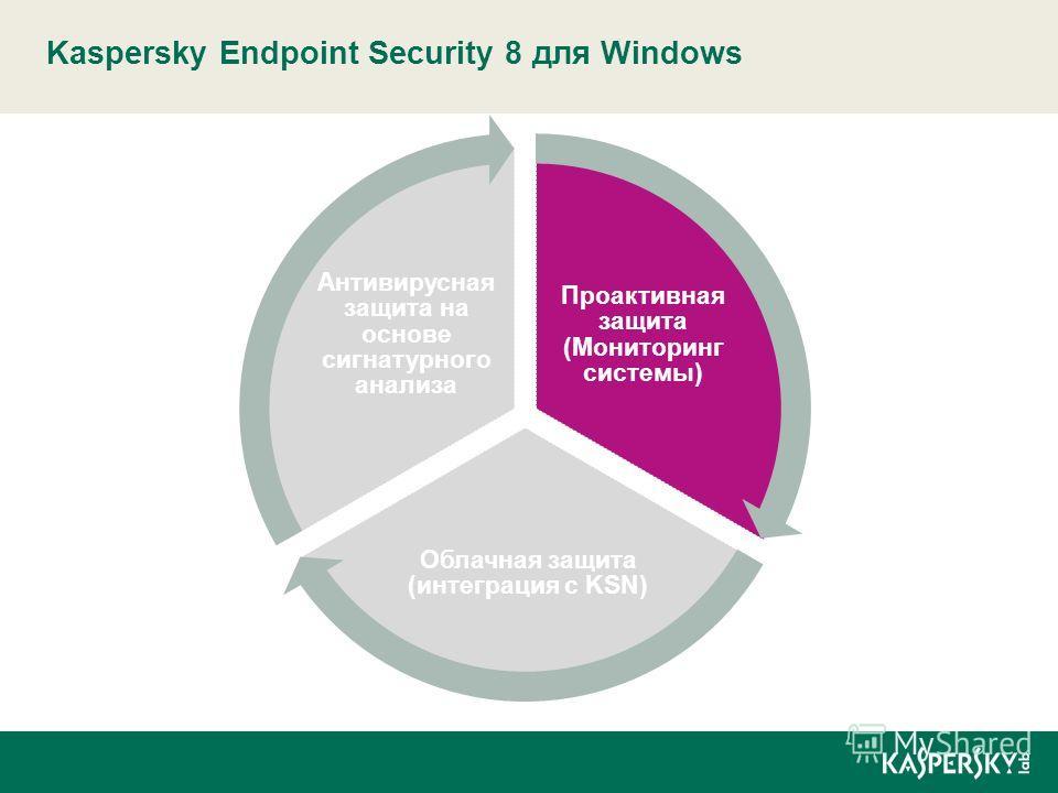 Kaspersky Endpoint Security 8 для Windows Проактивная защита (Мониторинг системы) Облачная защита (интеграция с KSN) Антивирусная защита на основе сигнатурного анализа