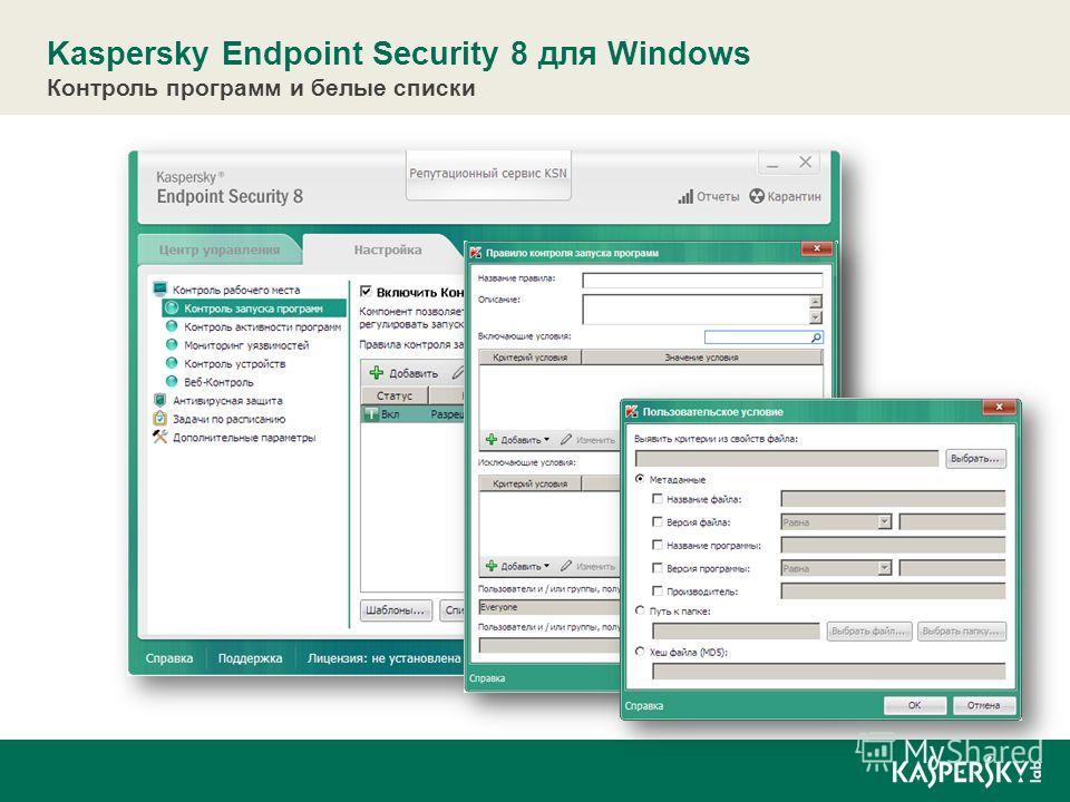 Интеграция с «облаком» Kaspersky Endpoint Security 8 для Windows Контроль программ и белые списки Контроль рабочего места Управляемость, масштабируемость и поддержка виртуализации Усиленная защита
