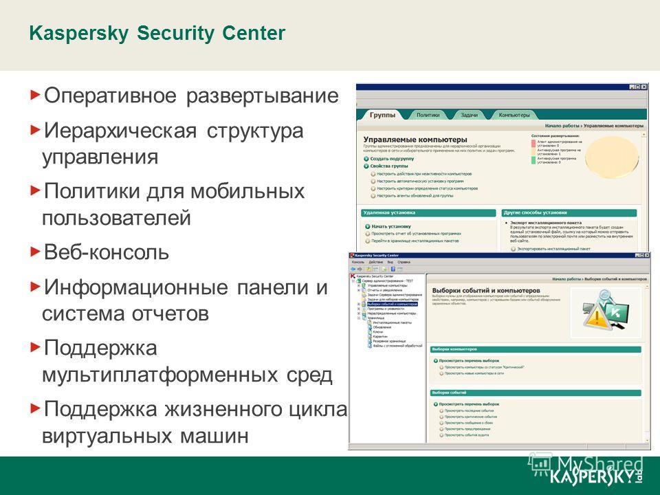 Kaspersky Security Center Оперативное развертывание Иерархическая структура управления Политики для мобильных пользователей Веб-консоль Информационные панели и система отчетов Поддержка мультиплатформенных сред Поддержка жизненного цикла виртуальных