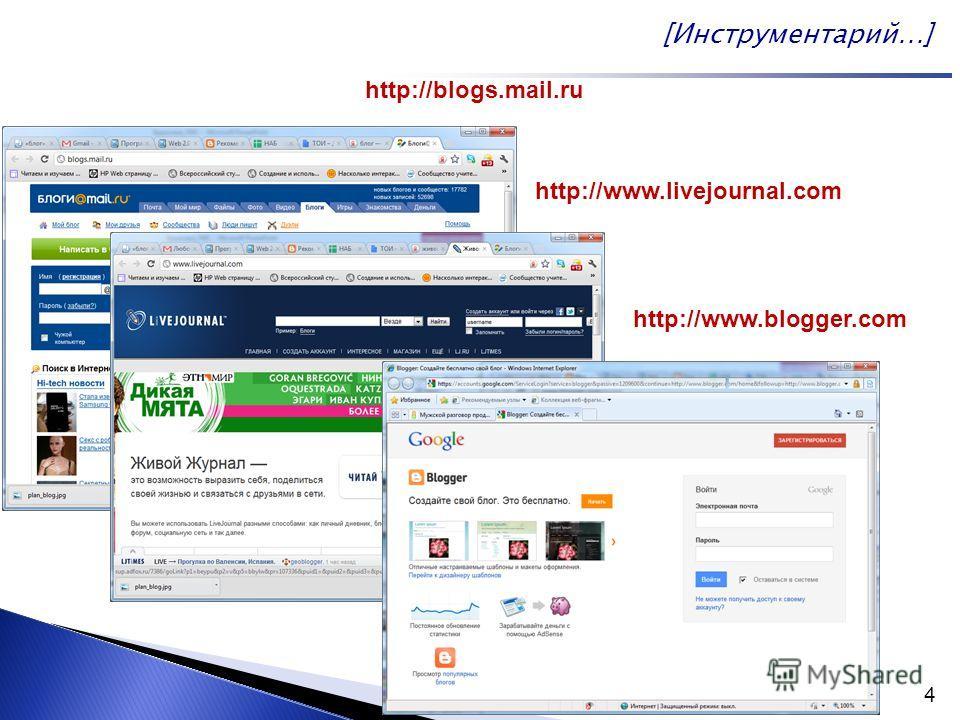 4 http://blogs.mail.ru http://www.livejournal.com http://www.blogger.com [Инструментарий…]