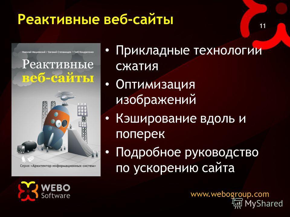 www.webogroup.com 11 Реактивные веб-сайты Прикладные технологии сжатия Оптимизация изображений Кэширование вдоль и поперек Подробное руководство по ускорению сайта
