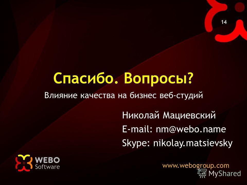 www.webogroup.com 14 Спасибо. Вопросы? Влияние качества на бизнес веб-студий Николай Мациевский E-mail: nm@webo.name Skype: nikolay.matsievsky