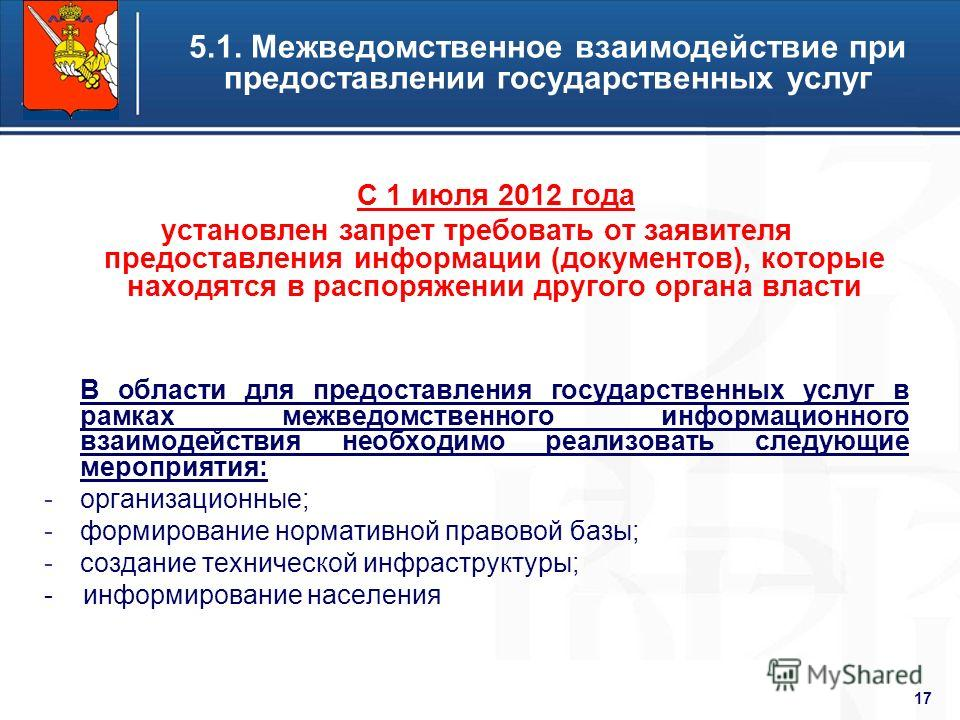 Higher School of Economics 17 5.1. Межведомственное взаимодействие при предоставлении государственных услуг С 1 июля 2012 года установлен запрет требовать от заявителя предоставления информации (документов), которые находятся в распоряжении другого о