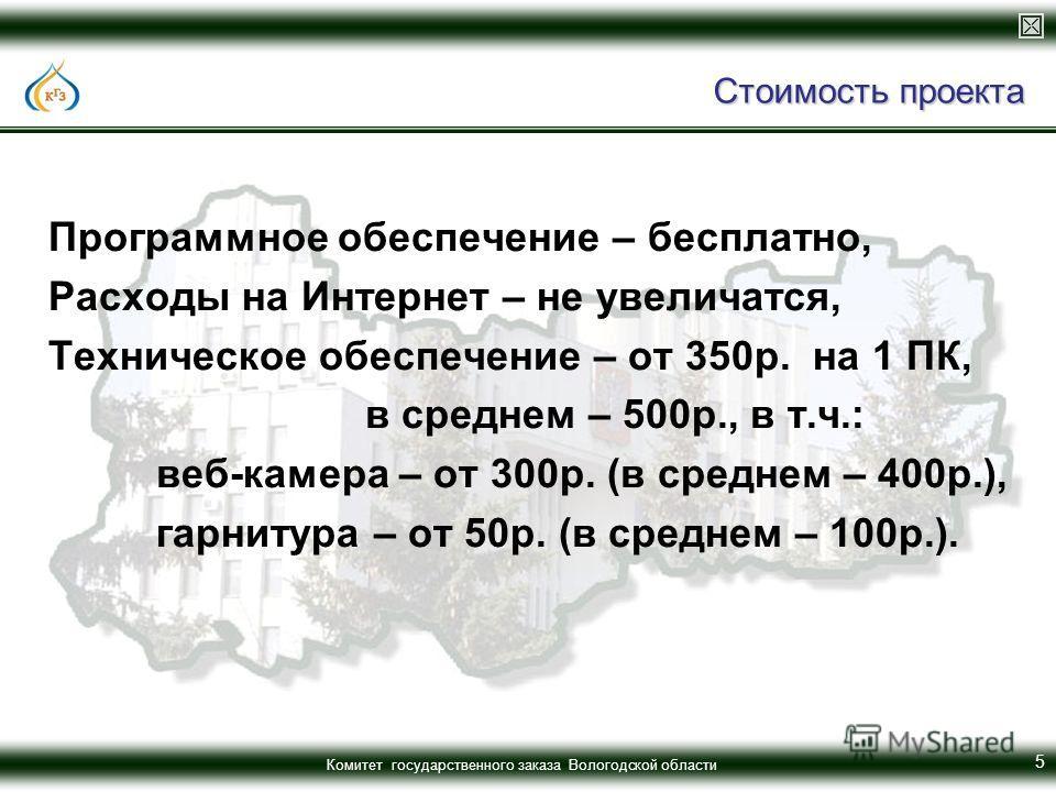 Комитет государственного заказа Вологодской области Стоимость проекта Программное обеспечение – бесплатно, Расходы на Интернет – не увеличатся, Техническое обеспечение – от 350р. на 1 ПК, в среднем – 500р., в т.ч.: веб-камера – от 300р. (в среднем –