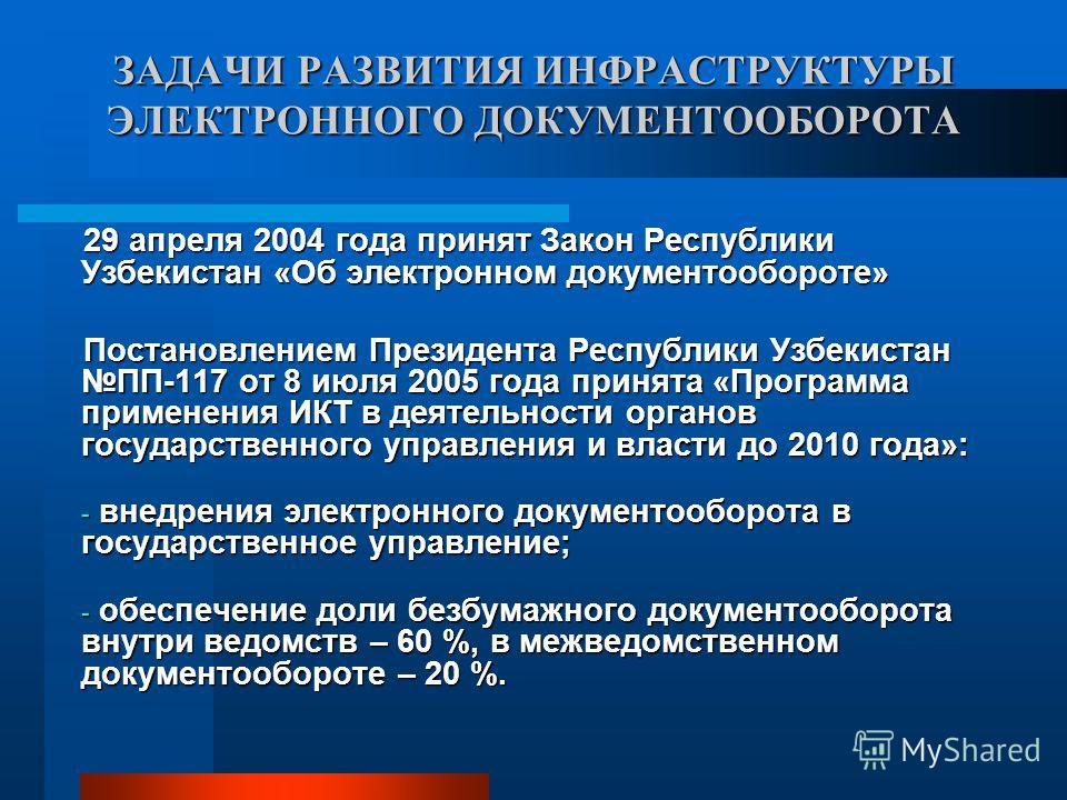 ЗАДАЧИ РАЗВИТИЯ ИНФРАСТРУКТУРЫ ЭЛЕКТРОННОГО ДОКУМЕНТООБОРОТА 29 апреля 2004 года принят Закон Республики Узбекистан «Об электронном документообороте» Постановлением Президента Республики Узбекистан ПП-117 от 8 июля 2005 года принята «Программа примен