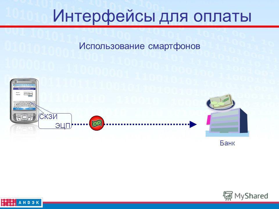 Интерфейсы для оплаты Банк Использование смартфонов ЭЦП СКЗИ