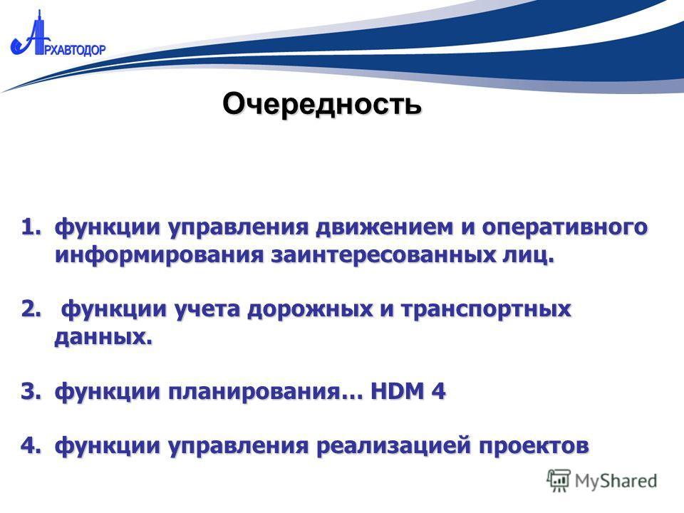 Очередность 1.функции управления движением и оперативного информирования заинтересованных лиц. 2. функции учета дорожных и транспортных данных. 3.функции планирования… HDM 4 4.функции управления реализацией проектов