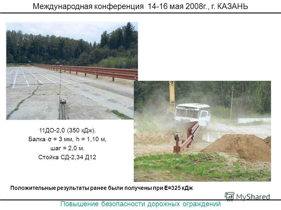 Положительные результаты ранее были получены при Е=325 кДж Международная конференция 14-16 мая 2008г., г. КАЗАНЬ Повышение безопасности дорожных ограждений 11ДО-2,0 (350 кДж). Балка σ = 3 мм, h = 1,10 м, шаг = 2,0 м. Стойка СД-2,34 Д12
