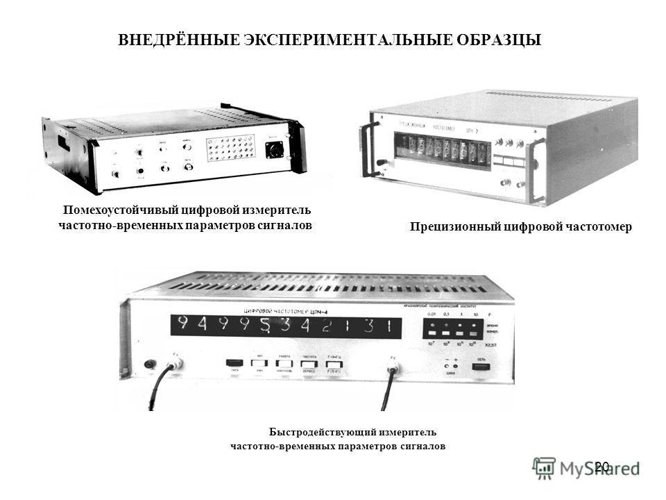 ВНЕДРЁННЫЕ ЭКСПЕРИМЕНТАЛЬНЫЕ ОБРАЗЦЫ 20 Помехоустойчивый цифровой измеритель частотно-временных параметров сигналов Прецизионный цифровой частотомер Быстродействующий измеритель частотно-временных параметров сигналов